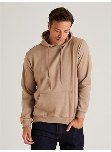 Dufy Kapüşonlu Kanguru Ceplı Erkek Sweatshirt - Slim Fit Vizon